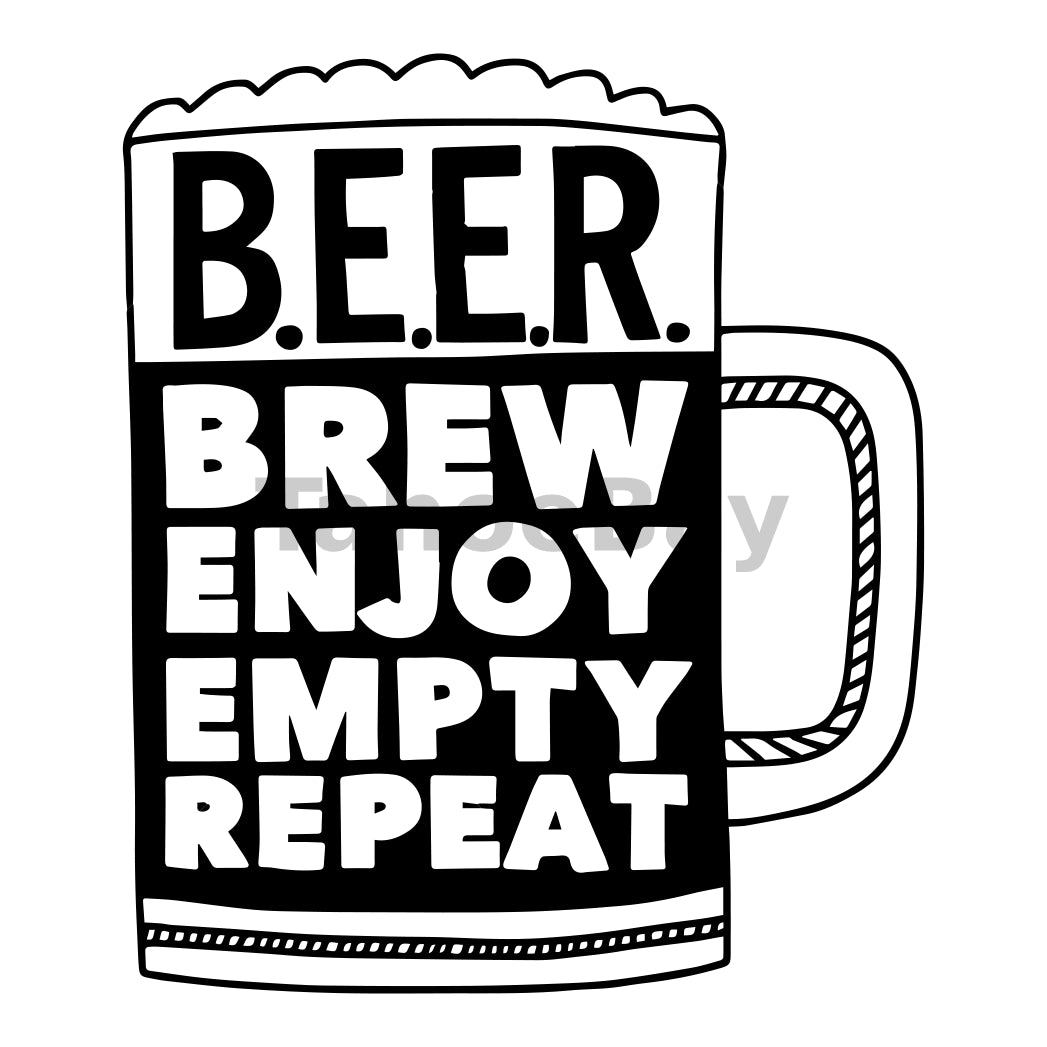 Brew Enjoy Empty Repeat Can Cooler Graphic Design Files | SVG PNG