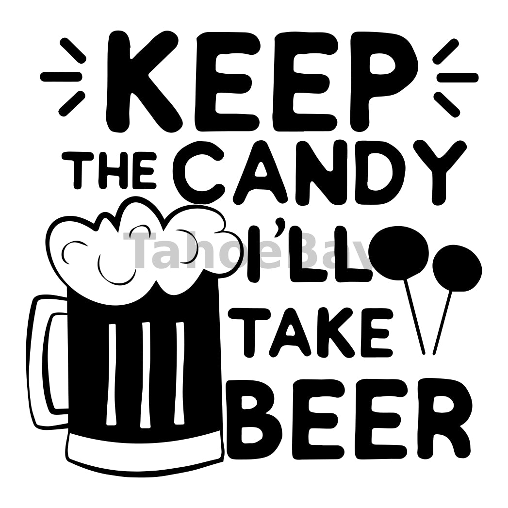 Keep The Candy Ill Take Beer Can Cooler Graphic Design Files | SVG PNG