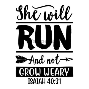 She Will Run And Not Grow Weary Can Cooler Graphic Design Files | SVG PNG