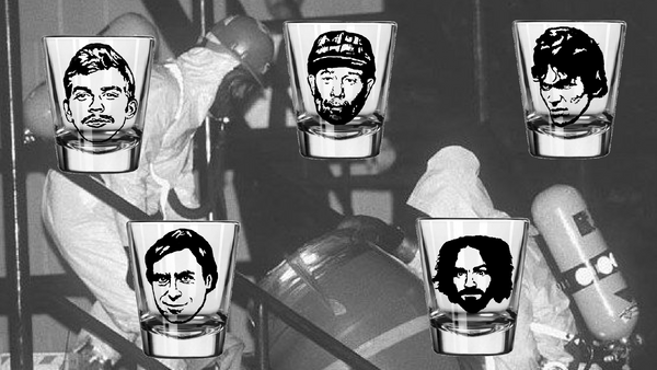 True Crime Serial Killer Five (5) Shot Glass Set Jeffrey Dahmer Ted Bundy Ed Gein Charles Manson Richard Ramirez Free Shipping Merch Massacre