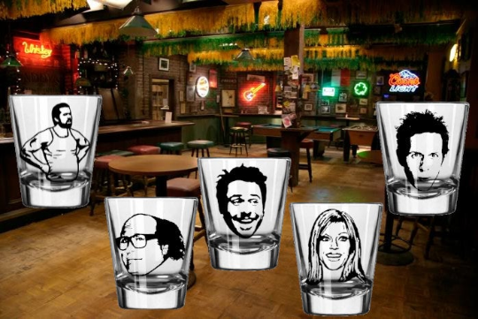 Always Sunny in Philadelphia (5) Five Shot Glass Set Frank Reynolds Mac Dee Dennis Charlie Paddy's Irish Pub Philly Free Shipping Merch Massacre