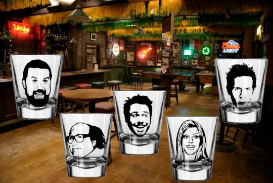 Always Sunny in Philadelphia (5) Five Shot Glass Set Frank Mac Dee Dennis Charlie Free Shipping Merch Massacre