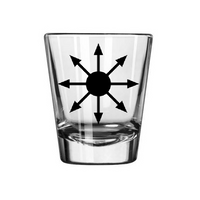 Chaos Magick Shot Glass Magic Symbol Mystic Mysticism Wicca Religion Witchcraft Witch Success Spirit SpiritualHalloween Free Shipping Merch Massacre
