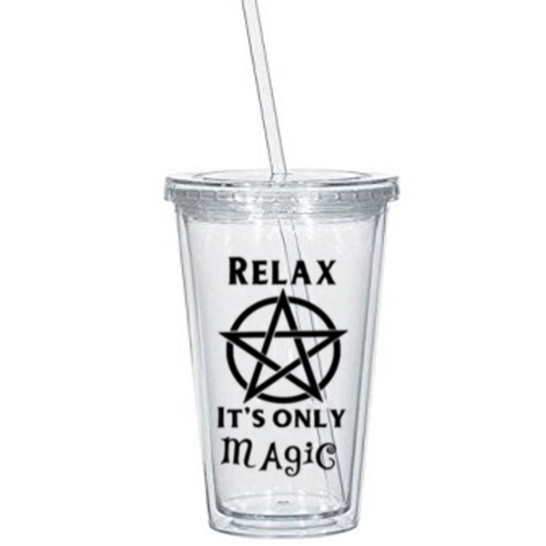 Craft Tumbler Cup Relax It's Only Magic Magick We Are Weirdos Mister Witch Witchcraft Pentagram Wicca Wiccan Halloween Free Shipping Merch Massacre