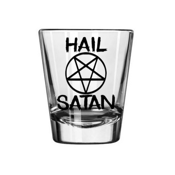 Satanism Shot Glass Hail Satan Pentagram 666 Ave Satana Devil Free Shipping Merch Massacre