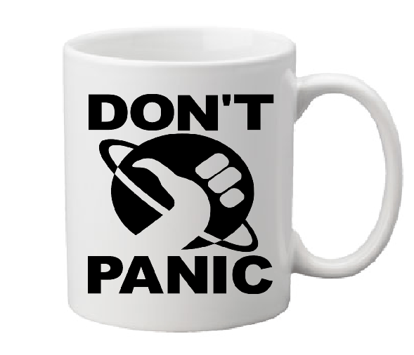 Hitchhiker's Guide to the Galaxy Mug Coffee Cup White Don't Panic Mostly Harmless 42 Douglas Adams Sci Fi Science Fiction Free Shipping Merch Massacre