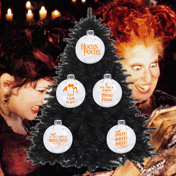 5 Set of Hocus Pocus Ornament Christmas Shatterproof I Put a Spell on You Amuck! Salem Witch Sanderson Sisters It's Just Bunch Shipping Merch Massacre