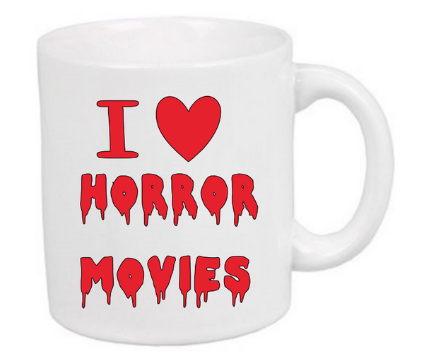 I Love Horror Movies Mug Coffee Cup White Scary Creepy Fan Collector Halloween Free Shipping Merch Massacre