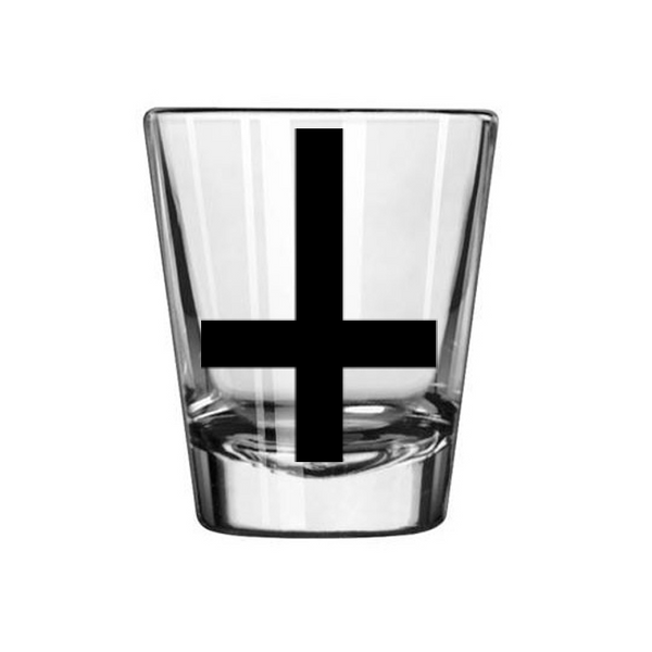 Satanism Shot Glass Inverted Cross Hail Satan Devil Free Shipping Merch Massacre