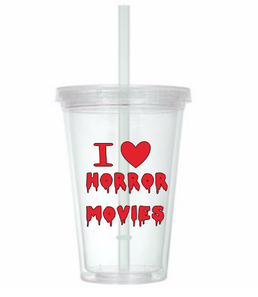 I Love Horror Movies Tumbler Cup Heart Bloody Violence Supernatural Funny LOL Horror Sci Fi Nerd Geek Halloween Free Shipping Merch Massacre