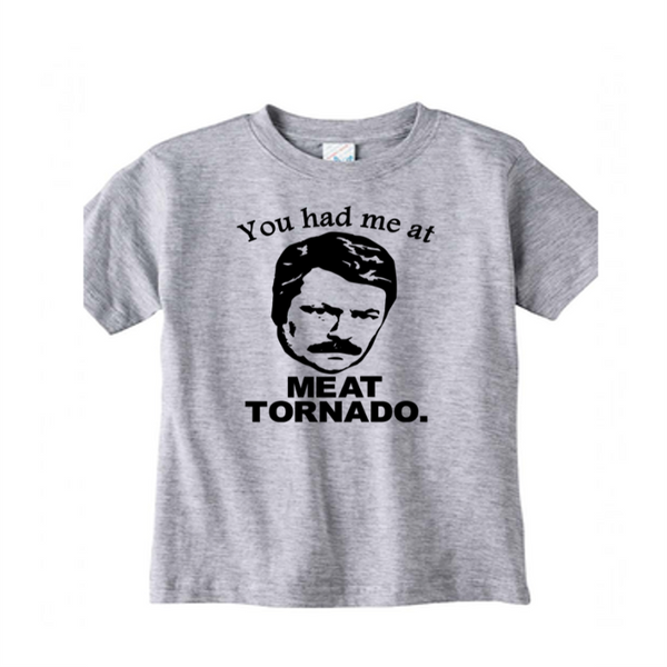 Parks and Rec  Meat Tornado T Shirt Kids Youth Toddler Clothing 2T-Youth XL Ron Swanson Merch Massacre Free Shipping