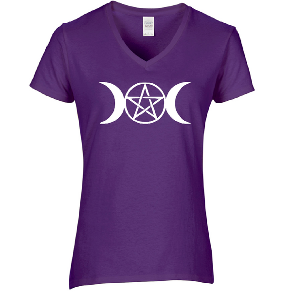 Wicca Ladies V Neck T Shirt Adult S-3X Witch Wiccan Witchcraft Magic Magick Pentagram Moons Star Chaos Sci Fi Horror Free Shipping Merch Massacre
