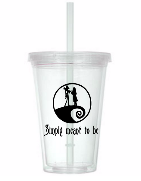 Nightmare Before Christmas Tumbler Cup Jack Skellington Sally Simply Meant to Be Oogie Boogie Zero Funny LOL Halloween Free Shipping Merch Massacre