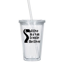 Tommy Boy Tumbler Cup I Live in a Van Down By the River! Holy Schnikeys! Snikeys! SNL Quote Comedy Funny LOL Nerd Geek Free Shipping Merch Massacre