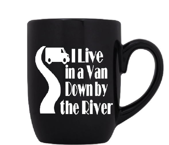 Tommy Boy Mug Coffee Cup Black I Live In a Van Down By the River Holy Schnikeys! SNL Funny Comedy Quote LOL Free Shipping Merch Massacre
