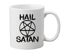Satanism Mug Coffee Cup White Hail Satan Fish Inverted Cross Ave Satana Pentagram Devil Worship Satanic Horror Halloween Free Shipping Merch Massacre