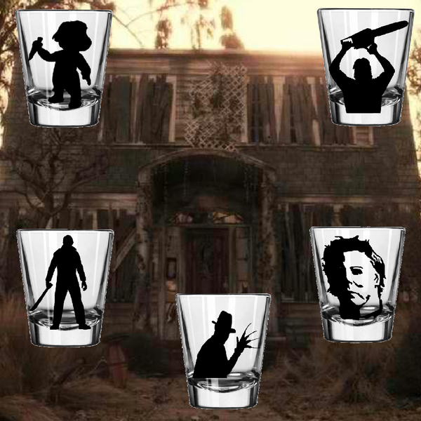 Set of (5) Slasher Shot Glass Chucky Freddy Krueger Michael Myers Jason Voorhees Halloween Nightmare Elm Street Horror Free Shipping Merch Massacre