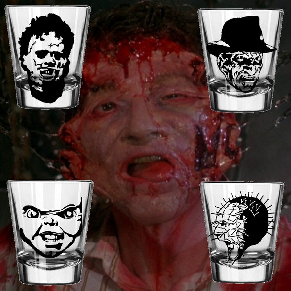 Set of (4) Slasher Shot Glass Freddy Krueger Pinhead Chucky Child's Play Hellraiser  Chainsaw Nightmare Elm Horror Street Free Shipping Merch Massacre
