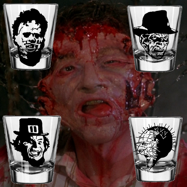 Set of (4) Slasher Shot Glass Texas Chainsaw Freddy Krueger Pinhead Leprechaun Hellraiser Nightmare Elm Street Horror Free Shipping Merch Massacre