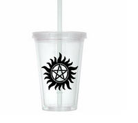 Supernatural Tumbler Cup Star Devils Trap Pentagram Winchester Brothers Hunters Hunter Funny LOL TV Show Horror Nerd Geek Free Shipping Merch Massacre