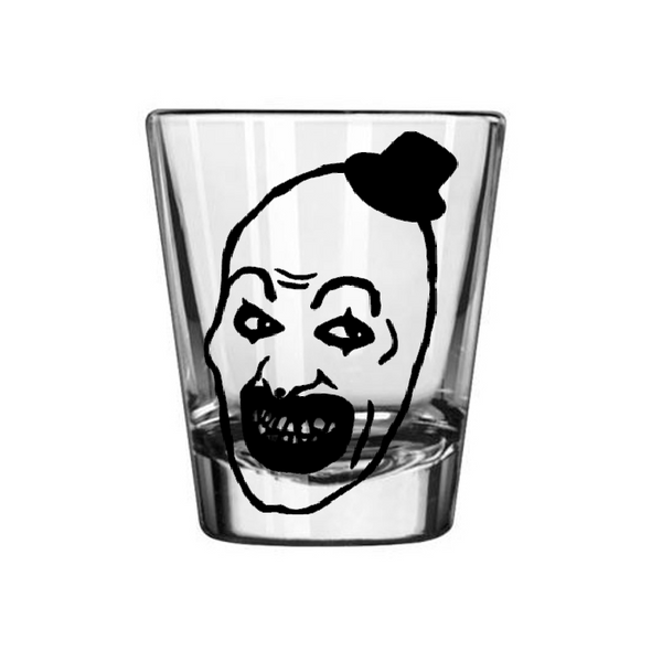 Terrifier Shot Glass Art the Clown Serial Killer True Crime Creepy Scary Slasher Horror Nerd Geek Halloween Free Shipping Merch Massacre