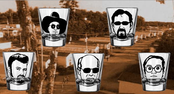 Trailer Park Boys Five (5) Shot Glass Set Ricky Julian Bubbles Jim Lahey Randy Sunnyvale Court Funny LOL Comedy Free Shipping Merch Massacre