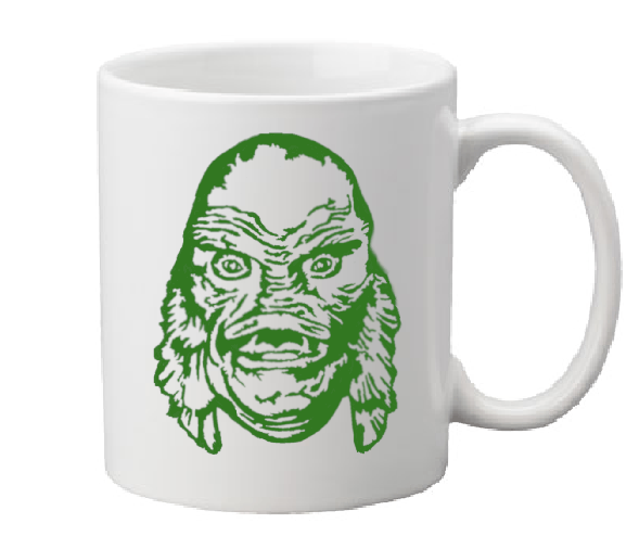 Universal Monsters Mug Coffee Cup White Creature From the Black Lagoon Gillman Gill Man Classic Horror Halloween Shipping Merch Massacre