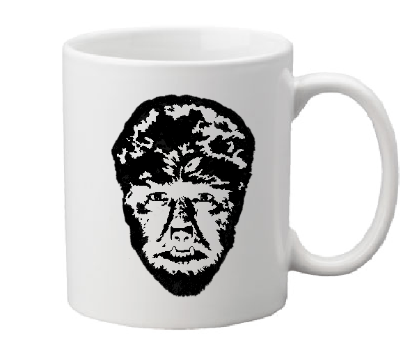 Universal Monsters Mug Coffee Cup White Wolf Man Wolfman Larry Talbot Werewolf Lon Chaney Classic Horror Halloween Shipping Merch Massacre
