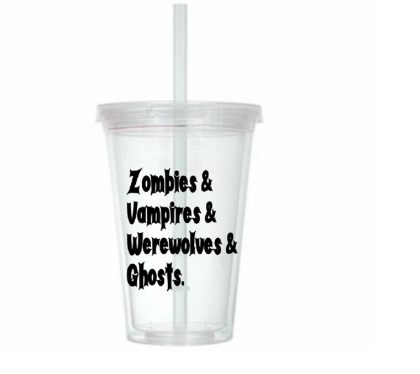 Zombies Tumbler Cup Vampires Werewolves Ghosts Zombie I Love Undead Walker Living Dead Ghoul Bloody Gory Sci Fi Nerd Geek Free Shipping Merch Massacre