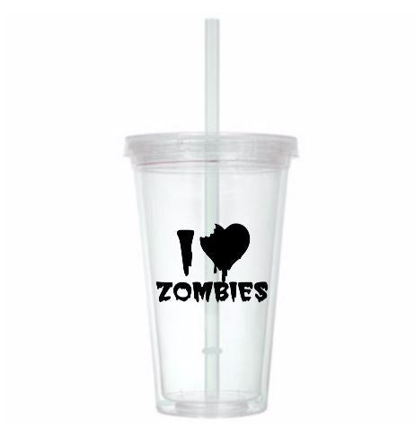 I Love Zombies Tumbler Cup Zombie Undead Walker Ghoul Living Dead Return Night Dawn Day Horror Sci Fi Nerd Geek Halloween Free Shipping Merch Massacre