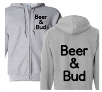 Beer and Bud Pro Weed Zip Up Hoodie Hooded Sweatshirt Unisex S-5X Adult Horror Free Shipping Merch Massacre