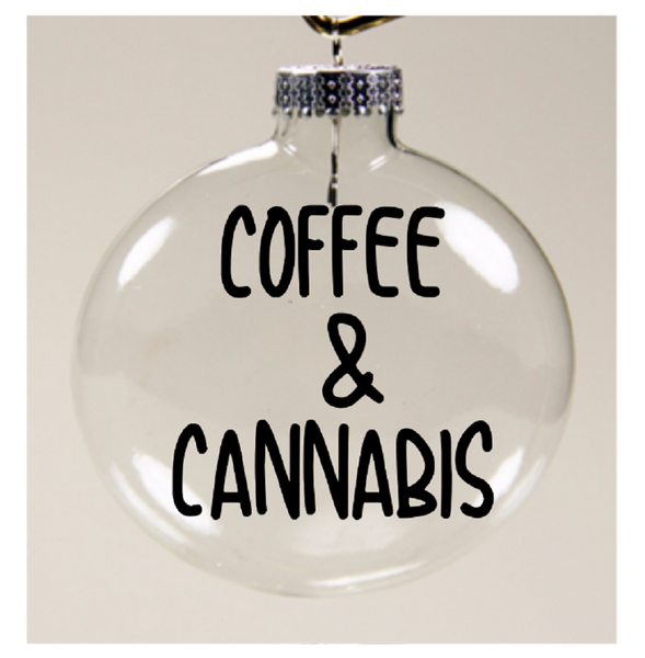 Coffee and Cannabis Ornament Christmas Glass Disc Holiday Free Shipping Merch Massacre
