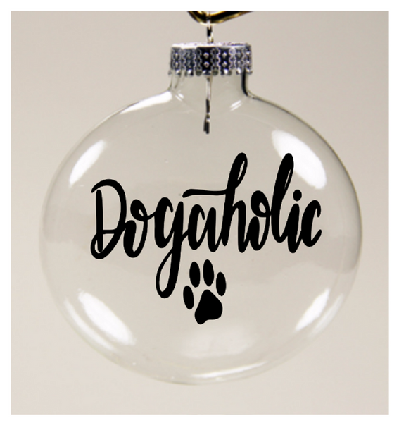 Dogaholic Dog Ornament Christmas Glass Disc Dog Lover Holiday Free Shipping Merch Massacre