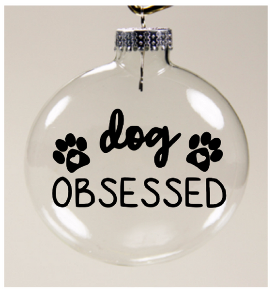 Dog Obsessed Ornament Christmas Glass Disc Dog Lover Holiday Free Shipping Merch Massacre
