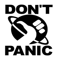 Don't Panic Hitchhikers Guide Galaxy Vinyl Decal Sticker Horror Free Shipping Merch Massacre