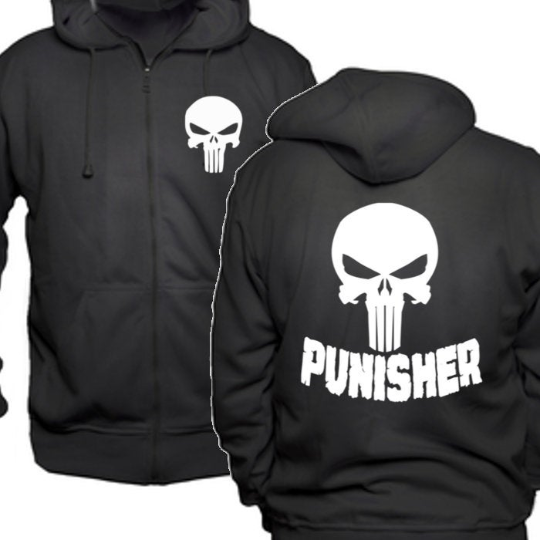 Punisher Comic Zip Up Hoodie Hooded Sweatshirt Unisex S-5X Adult Horror Free Shipping Merch Massacre