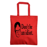 The Office Dwight Idiot Tote Bag Dunder Mifflin Free Shipping Merch Massacre