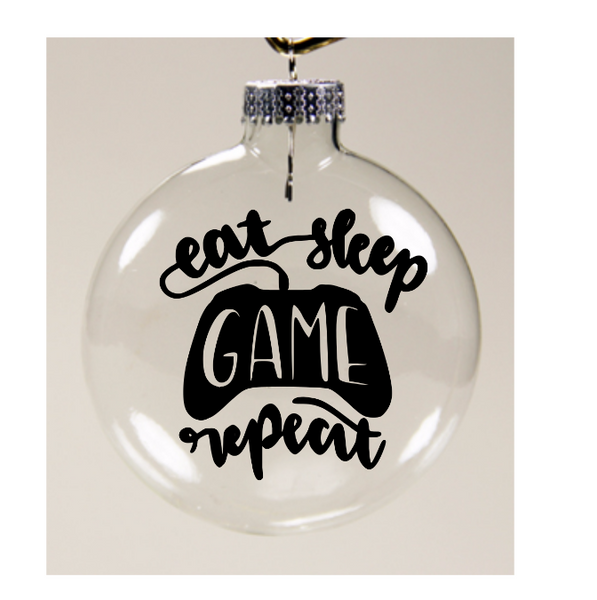 Eat Sleep Game Repeat Ornament Christmas Glass Disc Video Gamer Streamer Holiday Free Shipping Merch Massacre