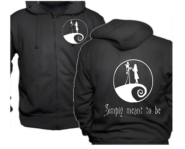 Nightmare Before Christmas Zip Up Hoodie Hooded Sweatshirt Unisex S-5X Jack Sally Simply Meant to Be Horror Free Shipping Merch Massacre