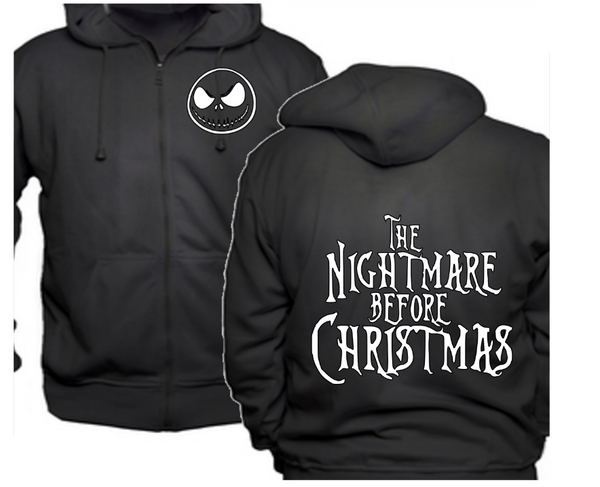 Nightmare Before Christmas Zip Up Hoodie Hooded Sweatshirt Unisex S-5X Jack Sally Horror Free Shipping Merch Massacre