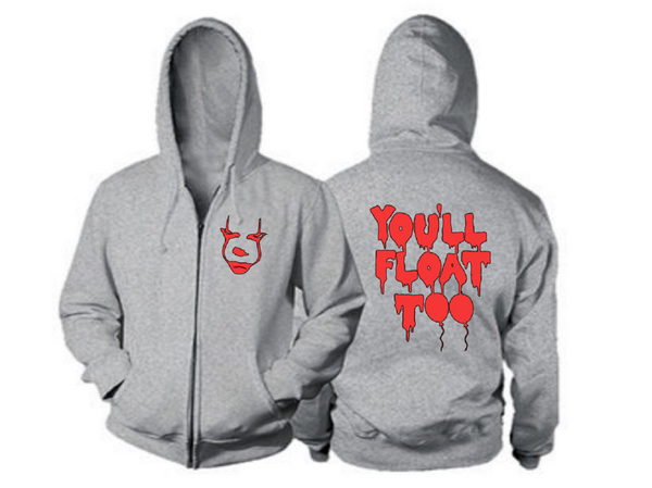 It Pennywise Zip Up Hoodie Hooded Sweatshirt Unisex S-5X You'll Float Too Horror Free Shipping Merch Massacre