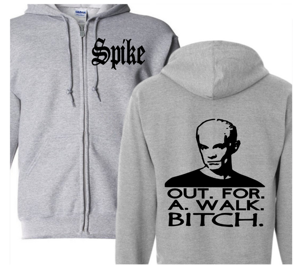 Buffy the Vampire Slayer Zip Up Hoodie Hooded Sweatshirt Unisex S-5X Adult Spike Walk Bitch Horror Free Shipping Merch Massacre