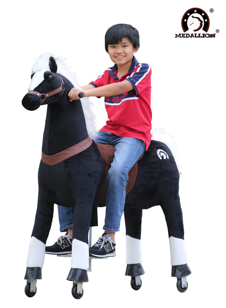 Medallion Ride On Toy Really Walking Horse BLACK KNIGHT - Large Size for 10 Years Old Up to Adults or Up to 200 Pounds