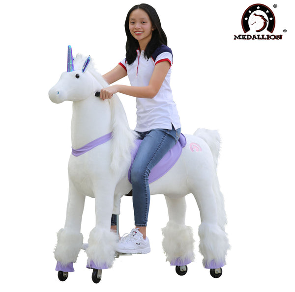 Medallion Ride On Toy Really Walking Horse in BEAUTIFUL PURPLE UNICORN - Large Size for 10 Years Old Up to Adults or Up to 200 Pounds