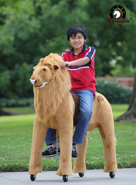 MEDALLION - My Pony Ride On Real Walking Horse for Children 10+ to Adults Or up to 200 lbs in THE KING LION