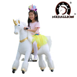 Medallion - My Unicorn Ride On Horse for Girls with Tutu Skirt Medium Size (GOLD Color) Headband & Skirt (TUTU) for Your Child