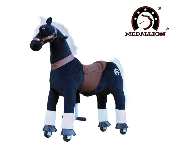 Medallion Ride On Toy Really Walking Horse BLACK KNIGHT - Medium Size