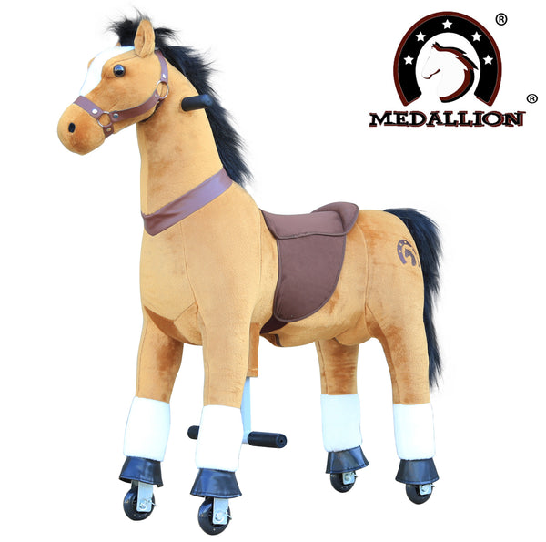 Medallion Ride On Toy Really Walking Horse BROWN - Medium Size