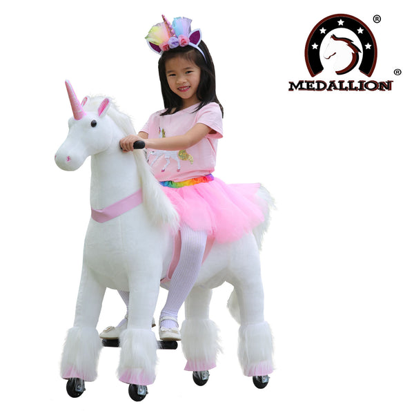 Medallion - My Unicorn Ride On Horse for Girls with Tutu Skirt Medium Size (PINK Color)  with Headband & Skirt (TUTU) for Your Child