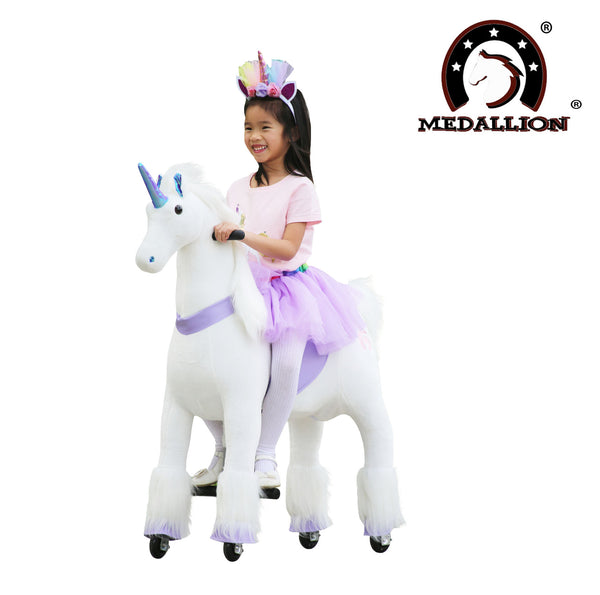 Medallion - My Unicorn Ride On Horse for Girls with Tutu Skirt Medium Size (PURPLE Color) with Headband & Skirt (TUTU) for Your Child